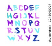 colorful vector ink alphabet.... | Shutterstock .eps vector #1246040029