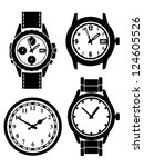 watch and clock icons set on...   Shutterstock .eps vector #124605526