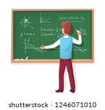 teacher write on blackboard... | Shutterstock . vector #1246071010