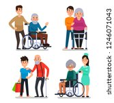 help old disabled people.... | Shutterstock . vector #1246071043