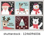 christmas cute greeting cards...   Shutterstock .eps vector #1246096036