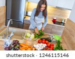 woman cutting lettuce preparing ... | Shutterstock . vector #1246115146