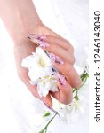 a woman's nail  designed with... | Shutterstock . vector #1246143040