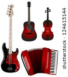 red music instruments | Shutterstock . vector #124615144