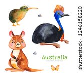 australia watercolor set.cute... | Shutterstock . vector #1246158220