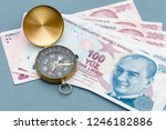 compass and turkish lira... | Shutterstock . vector #1246182886