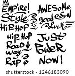 many graffiti tags on a white... | Shutterstock .eps vector #1246183090
