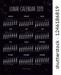 lunar calendar 2019 with moon... | Shutterstock .eps vector #1246186819