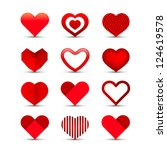 heart valentine icon set vector ... | Shutterstock .eps vector #124619578