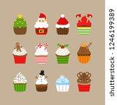 christmas cupcakes vector... | Shutterstock .eps vector #1246199389