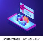 gift card with ribbon and... | Shutterstock .eps vector #1246210510