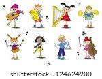 illustration of children with... | Shutterstock . vector #124624900