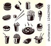 fast food set. vector | Shutterstock .eps vector #124629400