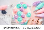 flat lay. piping pastel color... | Shutterstock . vector #1246313200
