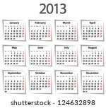 solid calendar for 2013 with... | Shutterstock .eps vector #124632898