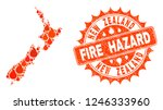 fire hazard collage of map of... | Shutterstock .eps vector #1246333960