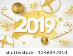 happy new year 2019 cover. 3d... | Shutterstock .eps vector #1246347013
