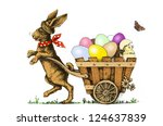 Easter Bunny Pulling A Cart...