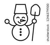 snowman with shovel icon. line... | Shutterstock .eps vector #1246379500