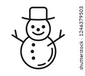snowman in hat icon. line style | Shutterstock .eps vector #1246379503