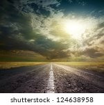 country road across the steppe | Shutterstock . vector #124638958