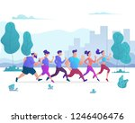 group of people running in city ... | Shutterstock .eps vector #1246406476