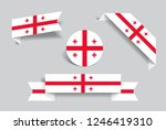 georgian flag stickers and...   Shutterstock .eps vector #1246419310