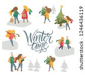 vector winter season set.... | Shutterstock .eps vector #1246436119