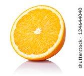 Half Orange Fruit On White...