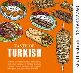hand drawn turkish food  vector ... | Shutterstock .eps vector #1246452760