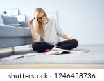 happy woman reading notes and... | Shutterstock . vector #1246458736
