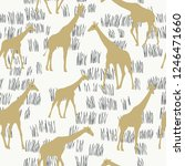 seamless pattern with giraffe.... | Shutterstock .eps vector #1246471660