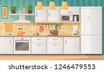 interior of a cozy kitchen with ... | Shutterstock .eps vector #1246479553