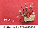 sledge with musical instruments ... | Shutterstock . vector #1246481080