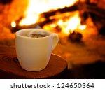 Hot Smoking Coffee By Fireplace