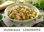 homemade pasta fusilli with... | Shutterstock . vector #1246504993
