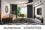 interior of the living room. 3d ...   Shutterstock . vector #1246507036