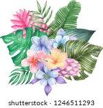 watercolor tropical composition | Shutterstock . vector #1246511293