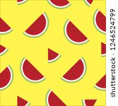vector water melon seamless...   Shutterstock .eps vector #1246524799