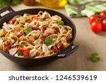 whole grain tagliatelle pasta... | Shutterstock . vector #1246539619
