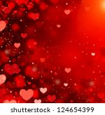 Valentine Hearts Abstract Red...