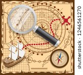 pirate map with the route to... | Shutterstock .eps vector #1246561270