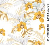 yellow orchids  exotic grey... | Shutterstock .eps vector #1246566796