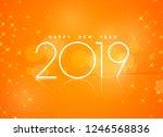 beautiful orange 2019 happy new ...   Shutterstock .eps vector #1246568836
