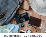 top view travel concept with... | Shutterstock . vector #1246581010