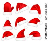 christmas santa claus hats with ... | Shutterstock .eps vector #1246581400