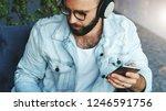 portrait of attractive bearded... | Shutterstock . vector #1246591756