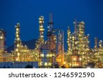twilight scene of oil refinery... | Shutterstock . vector #1246592590