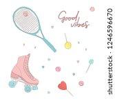 doodle roller and tennis racket ... | Shutterstock .eps vector #1246596670