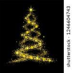 christmas isolated tree onbalck ... | Shutterstock .eps vector #1246604743